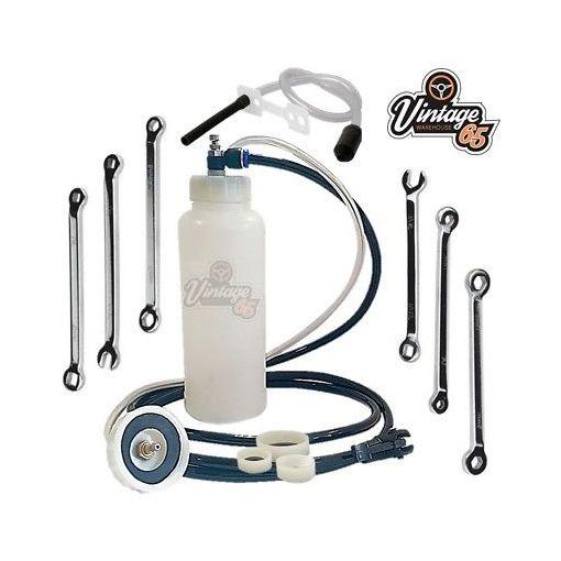 Classic Car Van Master Brake Bleed Kit + Cylinder Drum Caliper Bleed Spanner Set