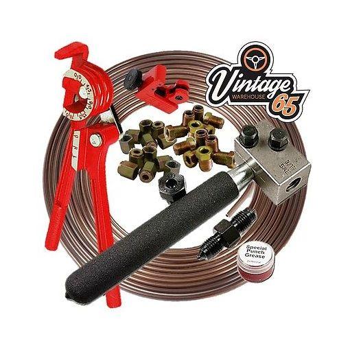 "Brake Pipe Repair Kit Pipe End Flarer Cutter Bender 3/16"" Kunifer 10mm Union Nut"