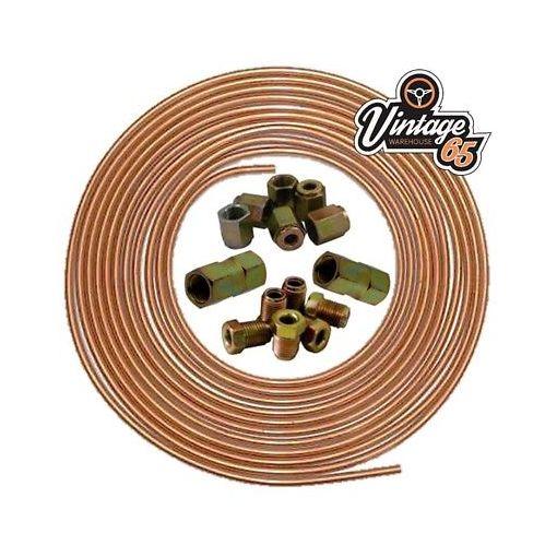 "TVR 25ft 3/16"" Copper Brake Pipe 3/8"" Male Female Nuts Joiner Tube Joint Kit"