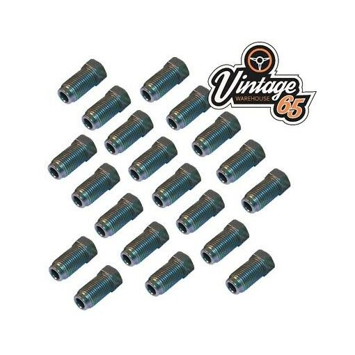 """20 Imperial Brake Pipe Fittings Unions 3/8"""" UNF x 24Tpi Male Long For 3/16"""" Pipe"""