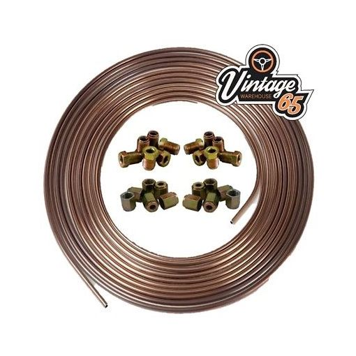 "Copper Nickel, Kunifer Brake Pipe 25ft Roll, 3/16"", 24 Metric Male Female Ends"