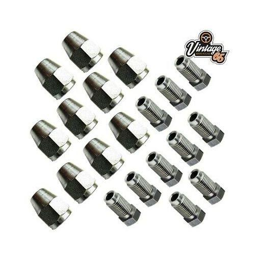 """Classic Mini Brake Pipe Connectors 3/8"""" UNF x 24tpi Male & Female For 3/16"""" Pipe"""