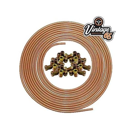 """**LAND ROVER** 3/16"""" X 25 FT SOFT 22G COPPER BRAKE PIPE + 20 MALE NUTS 10MM"""