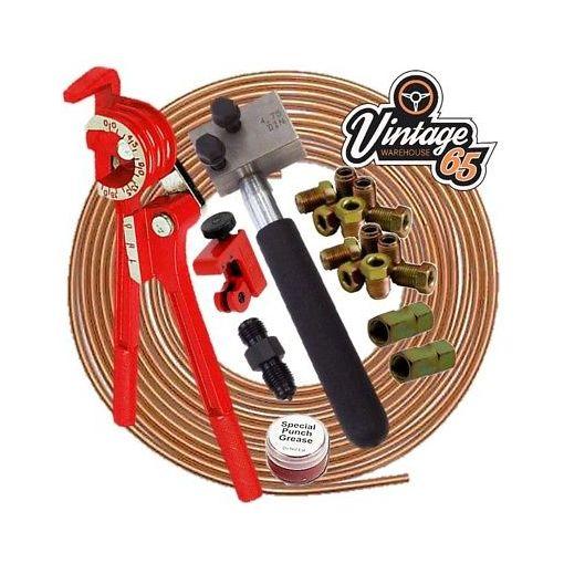 "Classic VW DIN 3/16"" Copper Brake Pipe Line 10mm Unions Flaring Restoration Kit"