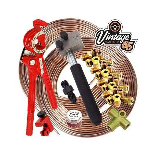 "Classic VW DIN 3/16"" Copper Nickle Kunifer Brake Pipe Flaring Restoration Kit"