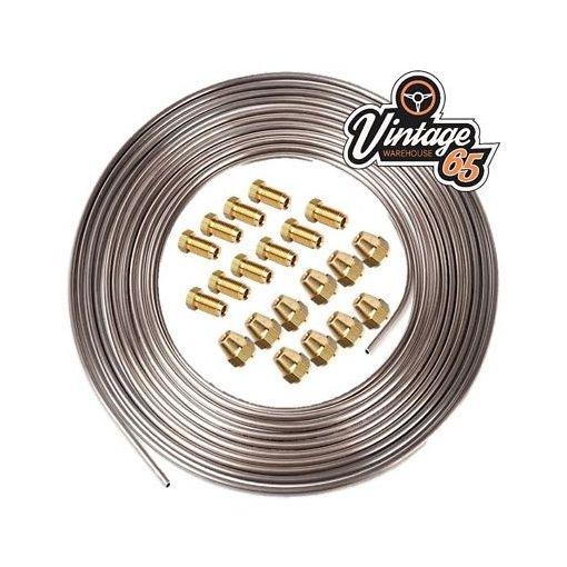 """Copper Nickel Kunifer Brake Pipe 25ft Roll 3/16"""" Brass 10x1mm Male Female Ends"""