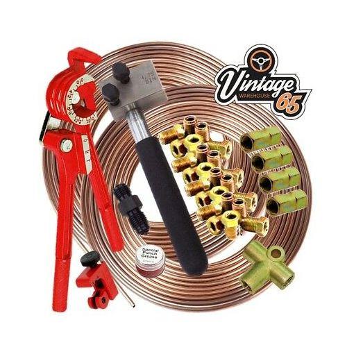 "Volkswagen T1 T2 T3 DIN 3/16"" Copper Nickel Kunifer Brake Pipe Restoration Kit"