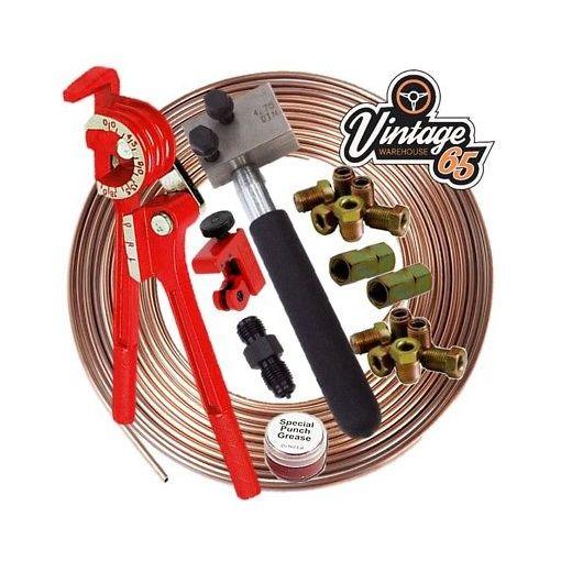 "Classic VW DIN 3/16"" Kunifer Brake Pipe Line 10mm Unions Flaring Restoration Kit"