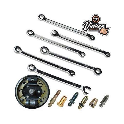 Porsche 6 Piece Master Brake Cylinder Drum Brake Service Bleed Spanner Set