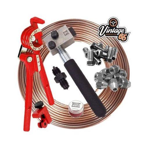 "Classic FORD 3/16"" SAE Kunifer Brake Pipe Flaring Restoration Kit 3/8"" Unions"