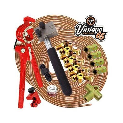 "Volkswagen DIN 3/16"" Copper Brake Pipe Line 10mm Unions Flaring Restoration Kit"