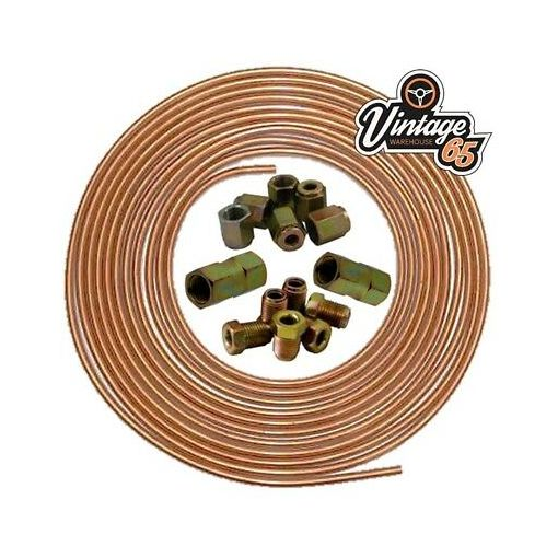 """Renault Clio 25ft 3/16"""" Copper Brake Pipe Male Female Nuts Joiner Tube Joint Kit"""