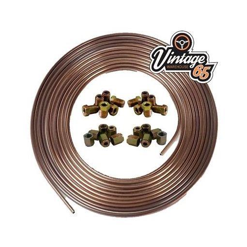 "Copper Nickel Kunifer Brake Pipe 25ft 3/16"" 12 Metric Male & 12 Female Ends"